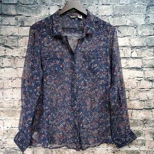Eddie Bauer   Sheer Floral Button Down Silk Blouse